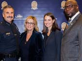 LAPD Chief of Police Charlie Beck, BBBSLA Board Chair Laura Lizer, BBBSLA President and CEO Tiffany Siart, LA Rams Director Player Engagement and former Big Brother and NFL player La�Roi Glove Photo by:    Christian Thomasr