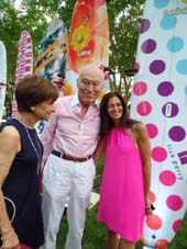 President of  The Breast Cancer Research Foundation, Myrna Bilblowit, Leonard Lauder and Maria Baum, cancer survivor/host  Photo by:  Katlean de Monchy
