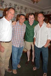 Richard Kind (sporting a lively green shirt) with friends .  Photo by:  Rose Billings