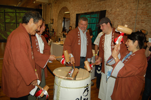 Keg breaking ceremony kicks of Joy of Sake tasting, International Society, New York Society, charity