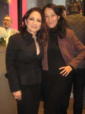 "04-02-16 Gloria Estefan (L) and Dr. Xiuli Meng at a cocktail reception in the VIP lounge before seeing a performance of ""On Your Feet! The story of Emilio & Gloria Estefan"" at the Marquis Theatre. 1535 Broadway. Wednesday night 03-29-16.  Photo by:  Aubrey Reuben"