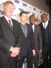 "04-12-12 (L-R) Larry Bird. cast members Tug Coker. Kevin Daniels. Earvin ""Magic"" Johnson at the opening night party for ""Magic/Bird"" at the Edison Ballroom. 240 West 47rd St. Wednesday night. 04-11-12"