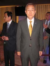 "08-24-11 Secretary General of the United Nations Ban Ki Moon at the opening night party for ""Hero: The Musical"" on the promenade of the David H. Koch Theater at Lincoln Center. Thursday night 08-23-11"