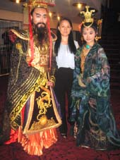 "08-29-13 Dr. Xiuli Meng (center) with two models dressed in costumes of ""The Legend of Emperor Qin"" at a press conference at the Minskoff Theatre. 200 West 45th St. 08-28-13.  photo by:  aubrey reuben"