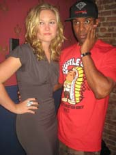 "08-08-14 Cast member Julia Stiles and DJ Whoo Kid at the opening night party for ""Phoenix"" at The Leonora. 529 West 29th St. Thursday night. .  Photo by:  Aubrey reuben"