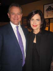 "12-12-15 Hugh Bonneville and Elizabeth McGovern ""Downton Abbey"" at the pre-opening party given by Julian Fellowes for ""School of Rock"" at O'Lunney's Irish Pub. 210 West 50th. St. Sunday night. 12-06-15.  Photo by:  Aubrey Reuben"