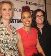 "12-19-15 (l-R) Director Cynthia Nixon. cast member Staceyann Chin. producer Rosie O'Donnell at the opening night of ""MoonStruck!"" at tthe Culture Project. .  Photo by:  Aubrey Reuben"