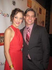 "12-02-11 Cast members Laura Osnes and Jeremy Jordan at the opening night party for ""Bonnie & Clyde"" at the Edison Ballroom 240 West 47th St. Thursday night 12-01-11"