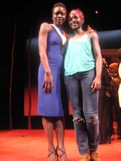 "02-27-16 Playwright Danai Gurira (L) and cast member Lupita Nyong'o pose after the curtain call of ""Eclipsed"" at the Golden Theatre. 252 West 45th St. .  Photo by:  Aubrey Reuben"