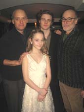 "02-25-15 Four of the five cast members (L-R) Frank Wood. Ben Rosenfield. Peter Friedman. (in front Sophia Anne Caruso at the opening night party for of MCC Theater's production of ""The Nether"" .  Photo by:  Aubrey Reuben"