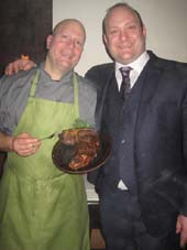 02-05-15 (L-R) Restaurant owners John P. Greco III and Tommy Greco with one of their steaks at a tasting of the menu at K Rico. 772 Ninth Avenue. Wednesday night.  Photo by:  Aubrey Reuben