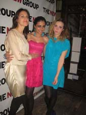"02-08-13 Cast members (L-R) Stephanie Janssen. Mahira Kakkar. Zoe Kazan at the opening night party of ""Clive"" on the West Bank Cafe. 407 West 42nd St"
