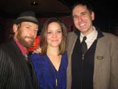 "01-24-14 Cast members (L-R) PJ Sosko. Rosie Benton. Erik Lochtefeld at the opening night party for ""Row After Row"" at Hurley's Saloon. .  photo by:  aubrey reuben"