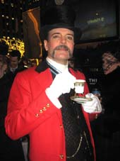 "12-12-13 Cast member Jefferson Mays of ""A Gentleman's Guide to Love and Murder"""" takes afternoon tea at the ""Downton Abbey"" Tea & Biscuits Food Truck on 50th St between 5th & 6th Avenues, Wednesday afternoon 12-11-13.  photo by:  aubrey reuben"