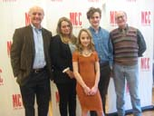 "01-09-15 Cast members (L-R) Frank Wood. Merritt Wever. Sophia Anne Caruso.. Ben Rosenfeld. Peter Friedman at a Meet and Greet for ""The Nether"" at the MCC Rehearsal Studios. 311 West 43th St. Friday morning. 01-09-15.  Photo by:  Aubrey Reuben"