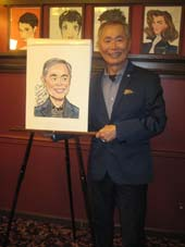 "01-16-16 George Takei ""Allegiance"" receives his caricature at Sardi's. .  Photo by:  Aubrey Reuben"