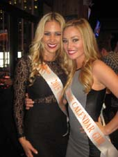 01-16-15 Hooters Calendar Girls (L-R) Emily Phelps (Calendar Centerfold from Sarasota. Florida). Ashley Dill (Calendars Miss September from Chattanooga. Tennessee) at the VIP party to launch the new location of the Flagship Hooters NYC. 155 West 33rd St. Thursday evening. Photo by:  Aubrey Reuben
