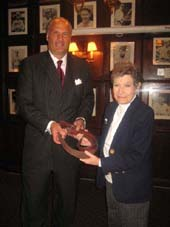 01-05-13 (L-R) Dean Poll. Marlene Brody as former owner Marlene Brody turns over the reins and keys to the new owner Dean Poll at a press conference at Gallagher's Steak House. 228 West 52nd St. Friday afternoon 01-04-13