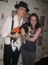 07-10-11 Reeve Carney and Jennifer Damiano and two dogs at Broadway Barks Lucky 13 Annual adopt-a-thon at the Bernard Jacobs Theatre. 242 West 45th St.