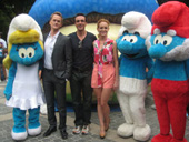 07-26-11 (L-R) Neil Patrick Harris. Hank Azaria. Jayma Mays at the unveiling of a Smurf Village in Central Park to kick off Smurfs Week NYC at Merchant's Gate in Central Park. 59th St at Columbus Circle.