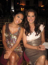 06-24-11 (L-R) Emcee Julie Chang. honoree Brooke Shields at the 2011 Broadway Beacon Awards at the Players Club
