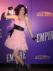 "06-01-01 Cast member Celina Carvajal at the opening party for ""Empire"" at Spiegelworld. 265 West 45th St. Thursday night 06-01-12"