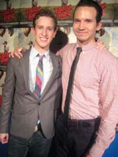 "06-28-12 Cast members (L-R) .Alex Wyse. Brandon Espinosa at the opening night party for ""Triassic Parq: The Musical"" downstairs at the Soho Playhouse. 15 Vandam St. Wednesday night 06-27-12"