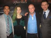 "03-13-13 (L-R) Cast members Aaron Clifton Moten. Louisa Krause. Matthew Maher. Alex Hanna at the opening night party of ""The Flick"" in the West Bank Cafe St. 407 West 24nd St. Tuesday night 03-12-13"