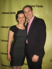"03-18-15 Wife Briana Carlson-Goodman (Dr. Zhivago) and husband/cast member Justin Flagg at the opening night party for ""Lomesome Traveler"" at the Hudson Hotel. 356 West 58th St. Tuesday night. 03-17-15.  Photo by:  Aubrey Reuben"