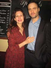 "03-03-14 Cast members Jessica Hecht and Dominic Fumusa at the opening night party for ""Stage Kiss"" at the West Bank Cafe. 407 West 42nd St. Sunday night. 03-02-14.  photo by:  aubrey reuben"