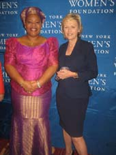 05-09-13 Honorees (L-R) Leymah Gbowee. Tina Brown at the New York Women's Foundation (NYWF) 26th Annual Celebrating Women Breakfast at the Marriott Marquis.  Photo by:  Aubrey Reuben