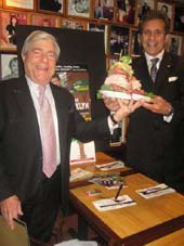 "05-18-12 Brooklyn Borough President Marty Markowitz (L) proclaims ""A Jew Grows in Brooklyn"" day to Jake Ehrenreich who is starring in his Off-Broadway comedy musical of the same name. Ehrenreich also received a new sandwich in his show's name which is added to the menu at the Carnegie Deli. 854 Seventh Ave. Thursday morning. 05-17-12"