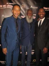 "05-21-16 (L-R) John Legend. Dick Gregory. Joe Morton at the opening night party for ""Turn Me Loose"" at 42 West. 514 West 42nd St. Thursday night. 05-19-16.  Photo by:  Aubrey Reuben"