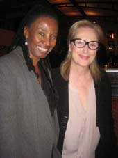 "05-01-12 B. Smith (L) and Meryl Streep at the opening night party for ""An Early History of Fire"" at B. Smith's Restaurant. 320 West 46th St. Monday night 04-30-12"