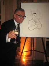 11-17-14 Honoree Rick Miramontez by his caricature at the New York Stage and Film Winter Gala 2014 honoring Michael Mayer and Rick Miramontez at the Plaza Hotel. 770 Fifth Avenue. Sunday night. 11-16-14.  Photo by:  Aubrey reuben