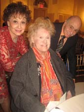 "0-29-13 (L-R) Honoree Carol Lawrence. Billy Goldenberg (seated) Tammy Grimes at the ""Never Give Up"" Gala at 3 West Club. 3 West 51st St. Monday night 10-28-13.  Photo by:  aubrey reuben"