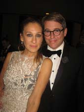 "10-10-14 (L-R) Sarah Jessica Parker and cast member Matthew Broderick at the opening night party for ""It's Only A Play"" at the Marriott Marquis. 1535 Broadway. Thursday night.10-09-14.  Photo by:  Aubrey Reuben"