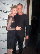 "10-14-13 Cast member Trudie Styler and husband Sting at the opening night party for ""The Seagull"" at Bear & Grill. 40 East 4th St. Sunday night.  photo by:  aubrey reuben"