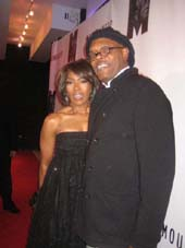 "10-14-11 Cast members Angela Bassett and Samuel L. Jackson at the opening night party for ""The Mountaintop"" at Espace. 635 West 42nd St. Thursday night 10-13-11"