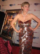 10-07-11 Angelica Page receives her portrait for Fame-Wall at a reception at Hurley's. 232 West 48th St.