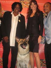 09-09-11 (L-R) Whoopi Goldberg. Animal Planet's Victoria Stilwell. Orlando Brown and Rin Tin Tin at the official kickoff for the American Humane Association