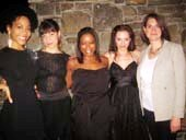 "09-16-13 (L-R) Cast members Nedra McClyde. Susannah Flood. Quincy Tyler Bernstine. Colleen Werthmann. Jennifer R. Morris at the opening night party for ""Mr. Burns. A Post-Electric Play"" at Tir Na Nog Irish Pub & Grill. 315 West 39th St. photo by:  aubrey reuben"