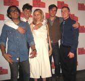 "08-20-15 Cast members (L-R) Tony Revolori. Paul Iacono. Emily Cass McDonnell. Zane Pais, Jack DiFalco at the opening night party of ""Mercury Fur"" at Lightbox. 339 West 38th St. Wednesday night. 08-19-15.  Photo by:  Aubrey Reuben"