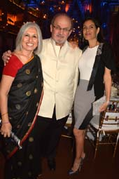 Aroon Shivdasani, Artistic & Executive Director IAAC Salman Rushdie and Missy Brody.  photo by:  rose billings