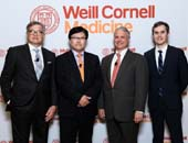 Dr. Roger H�rtl, Dean Augustine M.K. Choi, Dr. Louis Aronne and Dr. Conor Liston.  Photo by:  LILAPHOTO