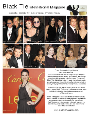 Black Tie International Magazine, One page aPromotional Piece