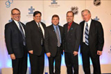 Autism Speaks President Mark Roithmayr, Larry Cancro, Sr. Vice President of Fenway Affairs, Boston Red Sox, Colgate Women's Hockey Coach Scott Wiley, ECAC Hockey Commisioner Steve Hagwell, Toronto maple Leafs General Manager Brian Burke