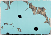 Image: Donald Sultan, Aqua Poppies Dec 10 2002. Enamel, flocking, tar,
