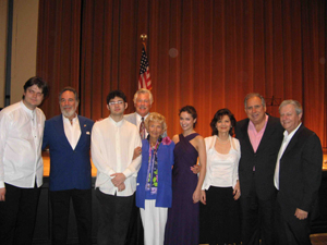 Roman Simovitz (violonist),Yaacov Heller(artist), Roman Rabinovich(pianist),Doug (Flossy's boyfriend),Flossy Keefely(honored at the concert), Shir Levy(violonist), Angela Madden, Thomas Madden,( director of Transmedia group PR), Gilad Sheba ( Director of the Keshet Elion Music Center)