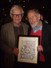 Albert Maysles & Don Duga with his art celebrating many of Albert's movies on his 85th birthday